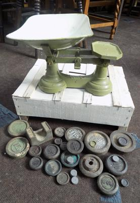 Set of old scales + collection of weights