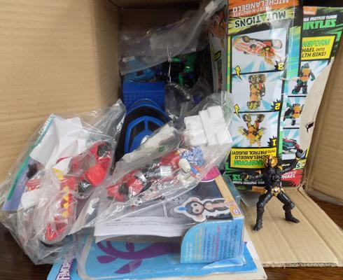 Box of vintage toys inc figures