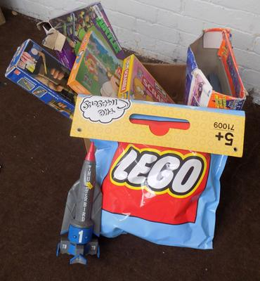 Box of vintage toys inc Lego advertising sign