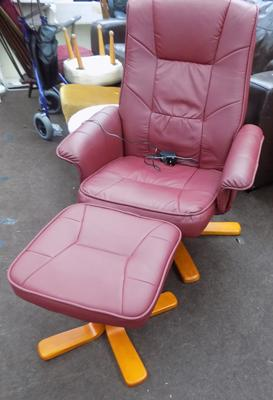 Red leather electric massage heat easy chair and footstool