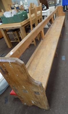 Large 12' pine church pew with fold out prayer kneeler