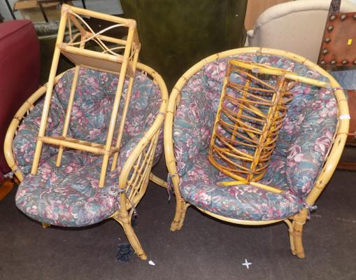 2x Wicker chairs & 2 side tables