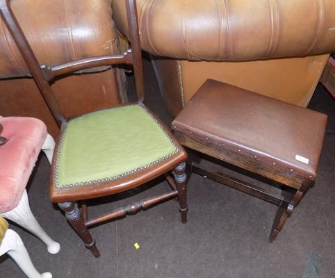 Leather top bench & chair