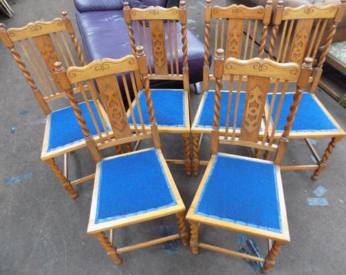 Set of 6 chairs with blue upholstery & barley twist legs