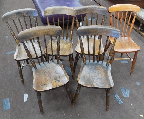 Set of 5 wooden chairs + 1 other