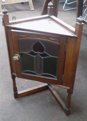 Edwardian stained glass wall cabinet