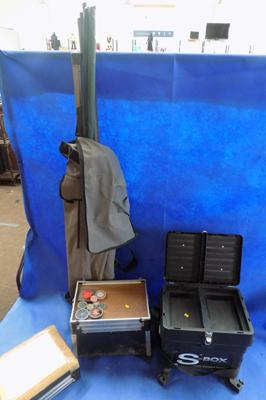 Fishing tackle- 2 seats, rods, baits, floats, reels etc