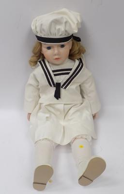 1970's handmade English doll, porcelain, glass eyes, ringlets - original sailor outfit