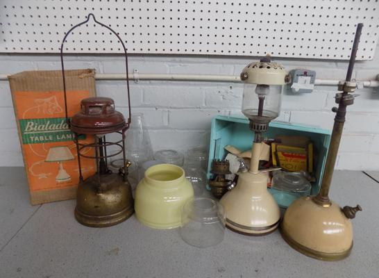Collection of Tilley and table lamps, accessories etc...