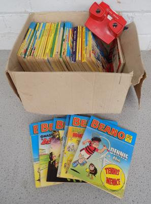 Box of comic library books inc Beano & view master