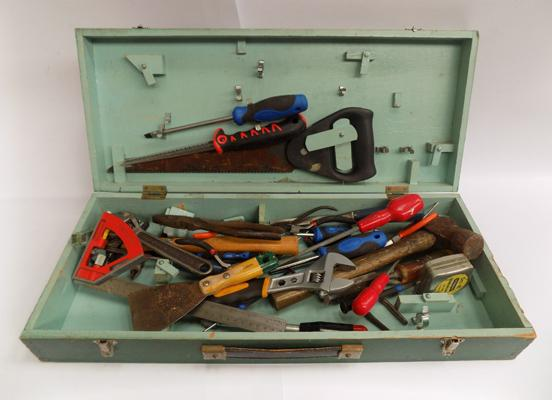 Selection of tools with wooden tool box
