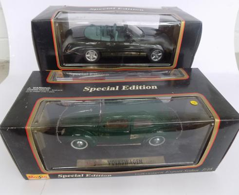 Special Edition Volkswagon Beetle & Jaguar XK8 both boxed