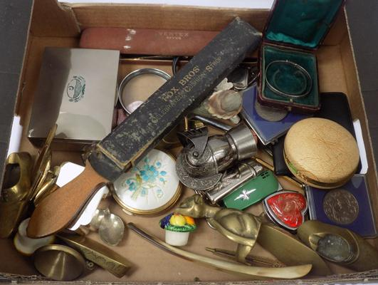 Collection of collectables - incl. silver vintage Christening bangle, compacts, lighters, brass, coins, boxes etc...