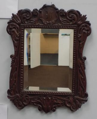 Black Forest style carved oak mirror, bevelled edge - carved date 1911