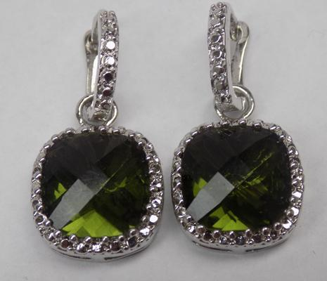 Pair of 925 silver earrings with large cushion cut green stones