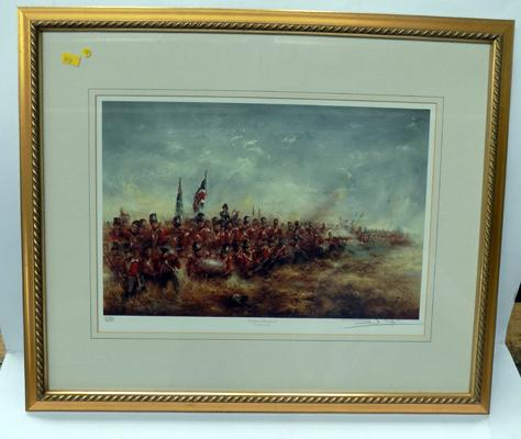 Framed signed print 'Battle of Waterloo'  320/850, signed by David Cartwright
