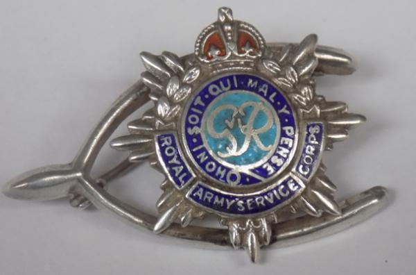 Antique silver & enamel Royal Army service Corps brooch, hallmarked silver on back, enamel, good condition