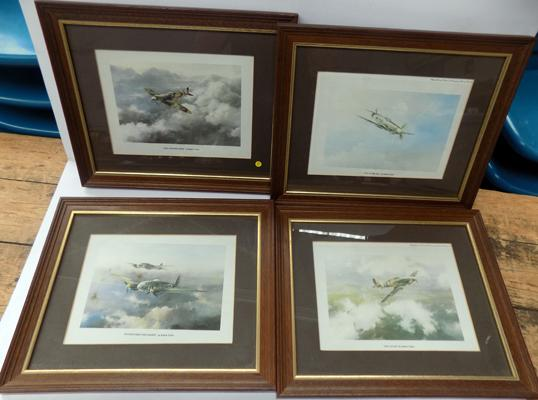 Set of four small aviation prints by Robert Taylor - Foul Weather Sortie, Out of the Sun, Into Attack & Daylight Raid over London
