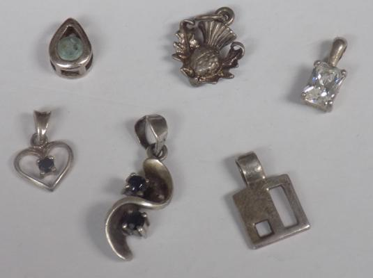 Selection of 925 silver pendants, various designs