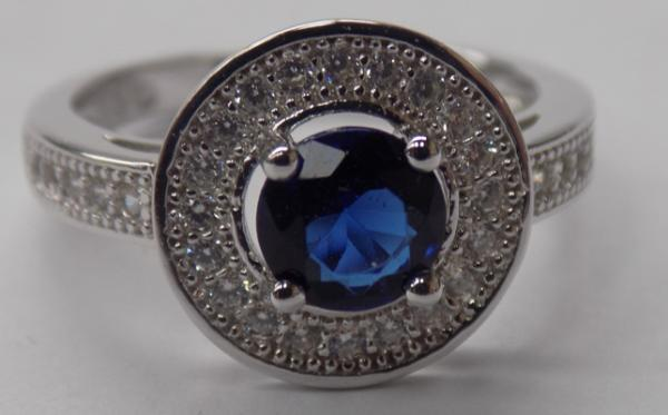 925 Silver Topaz & blue sapphire crystal halo ring-size L1/2