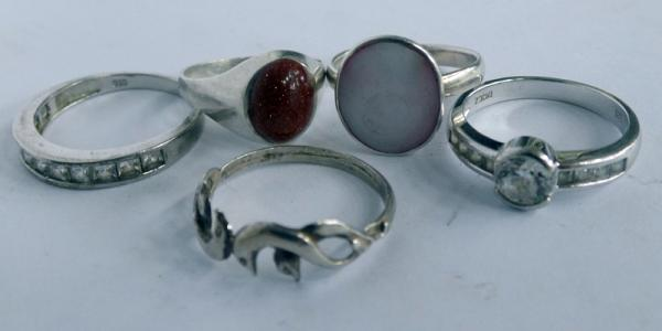 Five silver rings