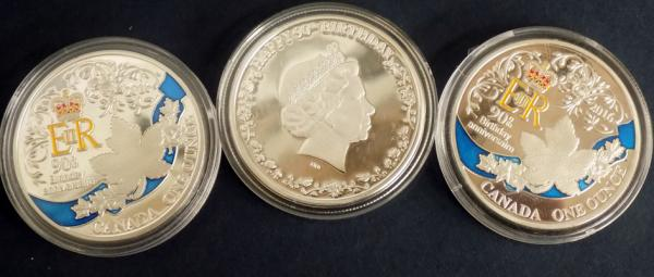 Three Canadian 1 once coins