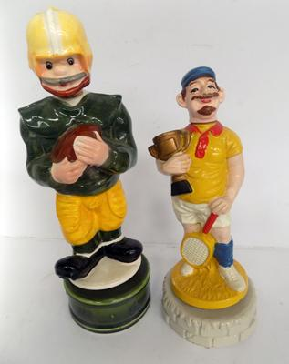 Two American football musical decanters