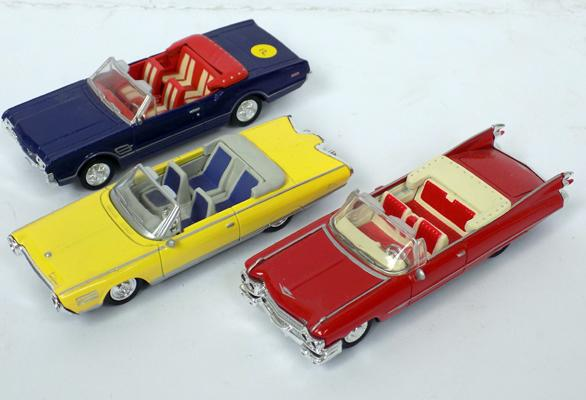 3 precision diecast 1940's style open top cars 1/43 scale (mint condition)