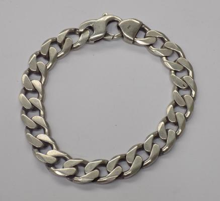 Heavy solid silver curb link bracelet approx 44gms