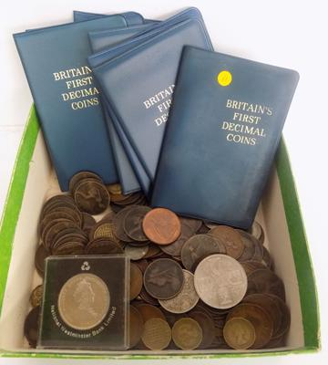Selection of coins, incl. Britain's first Decimal coin pack  x  8