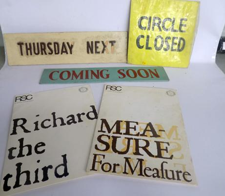 Two RSC William Shakespeare programmes & three cinema/theatre signs