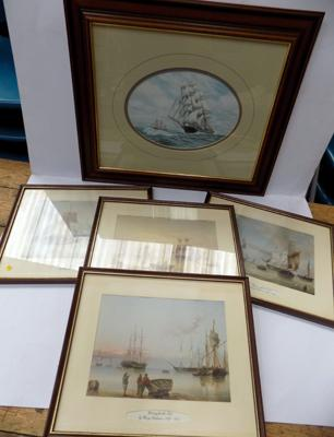 Set of four coastal scenes by Henry Redmore & one other