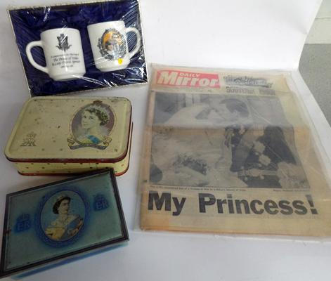 Selection of Royal/coronation collectables, incl Charles & Diana - incl. tins, jug, newspaper