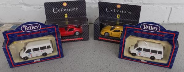 Four collectable boxed cars, incl Ferrari