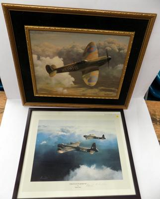 Aviation print by Robert Taylor + one other by Keith Woodcock (signed by pilot 'Hamish Haliddi')