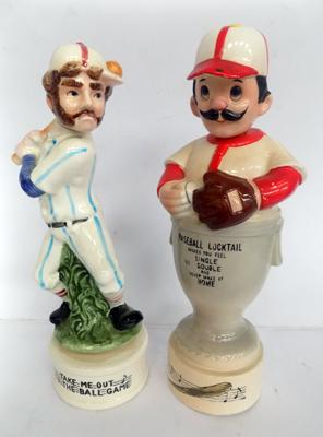 Two baseball musical decanters