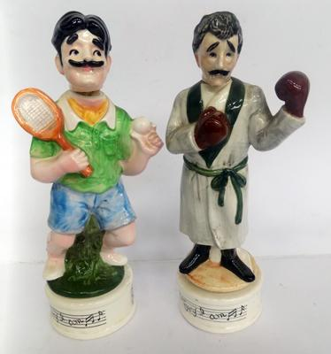 One boxing & one tennis musical decanters