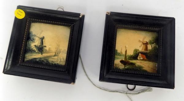 Two antique miniature hand painted Delft tiles
