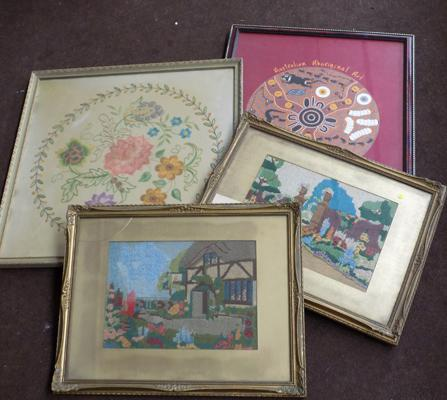 Four framed embroideries etc...