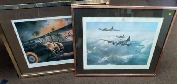 Two signed prints by Robert Taylor - 'Memphis Belle' & 'The Swordfish Attack at Taranto' signed by Charles Lamb (pilot)
