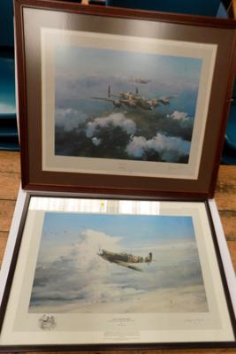 Signed Limited Edition print by Robert Taylor, 320/850 (signed by Leonard Chesire, pilot) & one other signed by Robert Taylor