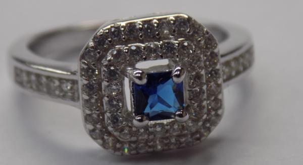925 Silver Topaz & blue sapphire crystal-square halo ring-size Q