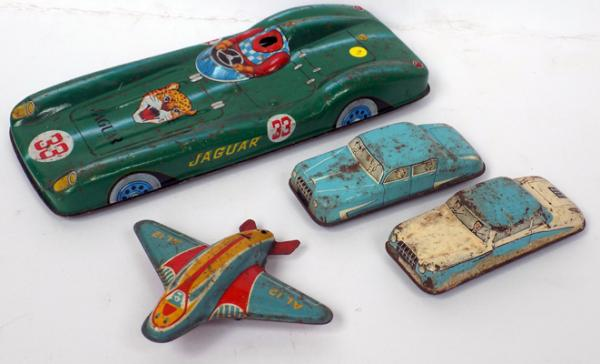 Collection of vintage 1950's tinplate friction cars and plane