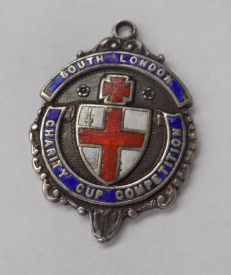 Antique silver & enamel 'South London charity cup competition' watch fob