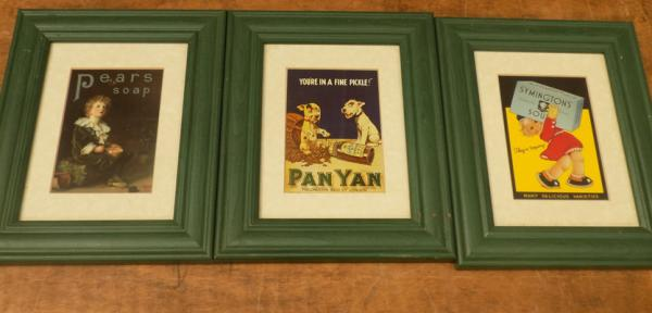3x Framed advertising plaques/pictures-Pan Yan, Pears Soap, Symingtons soup