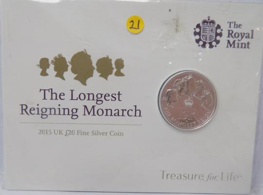 2015 UK £20 silver coin 'The Longest Reigning Monarch'