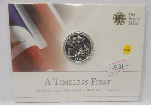 2013 Uk £20 silver coin-'George & the Dragon'