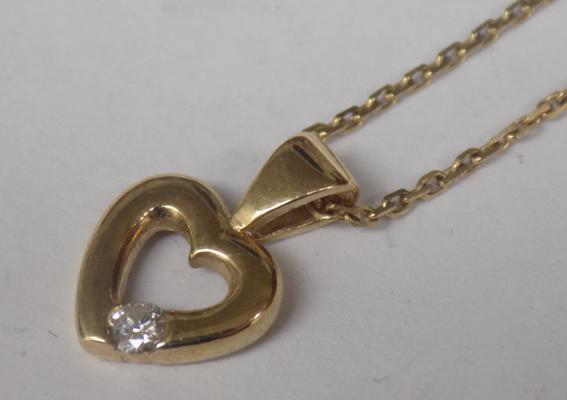 "9ct gold diamond heart pendant on 9ct gold chain, approx. 16"" & 1.8 grams"