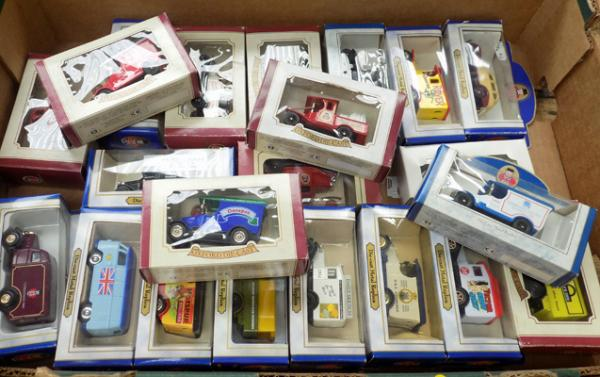 Box of 22 boxed diecast cars and vans