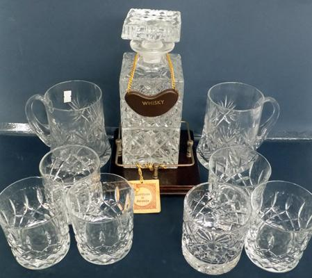 Cut glass whisky decanter in stand & selection of cut glass glasses